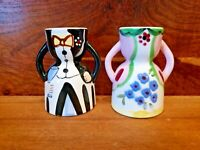 """Vintage ceramic Pair 2 Double Egg Cups Figurines Dressed For Party 4"""" EUC"""