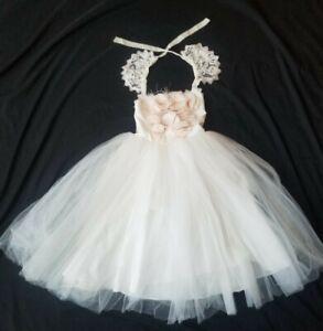 Dollcake Maxi Ballerina Flower Girl Dress Tulle skirt feathers white Size 10