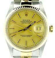 Rolex Datejust Men 2Tone 14K Yellow Gold Stainless Steel Jubilee Champagne 16013