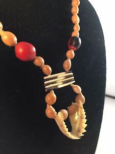 Vintage PIRANHA JAW Lucky HUAYRURO SEED & QUILL Necklace Peruvian Botanical