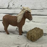 Terra By Battat Shetland Pony Horse Figure Hay Bale Brown