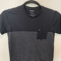 RVCA Men's Small Tshirt Black White Striped Slim Fit Short Sleeve Cotton