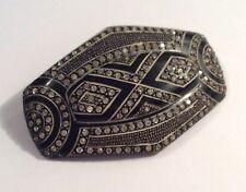 Original vintage Art Deco black celluloid & paste brooch