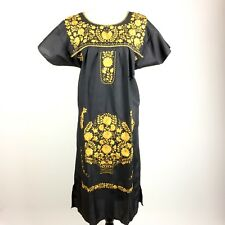 Small Black Hand Embroidered Puebla Peasant Mexican Pueblo Dress Tunic Boho