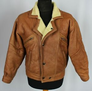 Shearling Sheepskin Leather Brown Nappa Leather 38S Small DL093