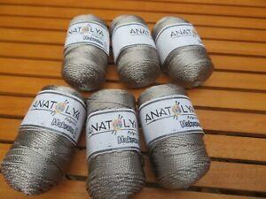 Anatolya Polyester Macrame 3 Craft Knitting Crochet 600gram spools silvery grey