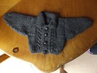BRAND NEW HAND KNITTED BABY BOYS DARK GREY ARAN CARDIGAN WITH COLLAR