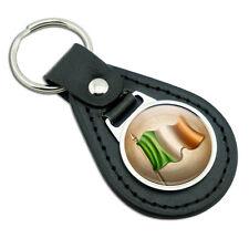 Vintage Ireland Flag - Irish Black Leather Metal Keychain Key Ring