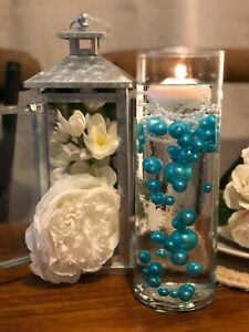 Wedding Centerpiece Teal Blue Floating Pearls Decoration 80pc DIY Table Decor