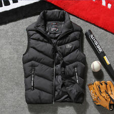 Winter Warm Mens Down Cotton Padded Sleeveless Jacket Vest Waistcoat Parka L-3XL