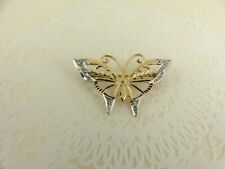 Beautiful 9ct 9carat White & Yellow Gold Diamond Butterfly Brooch