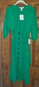 NWT Forever 21 Contemporary A-Line Green Dress Sleeveless Tie Button Size Small