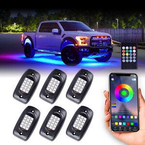 LED Rock Lights 6 Pods RGB Million Color APP Music Sync Truck ATV Underbody Kit