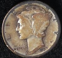 """1937-D  10C Mercury Dime lha  90% Silver  """"Only 50 Cents for Shipping"""""""