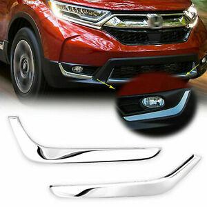 Front Fog Light Lower Cover Eyelid Trim Chrome for Honda CR-V CRV 2017-2020 2021