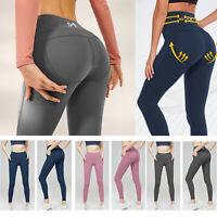 Womens Push Up Yoga Pants Pocket Gym Leggings Fitness Tik Tok Legging Tight