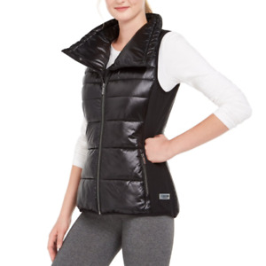 Calvin Klein Performance Womens Black Funnel Neck Quilted Vest Size Medium $79