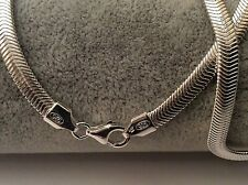 "16"" HALLMARKED STERLING SILVER FLAT SNAKE CHAIN NECKLACE SOLID SILVER GIFT"