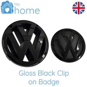 Gloss Black Front & Rear Badge Grill Boot Emblems Logo Set (Fits: VW Golf MK5)