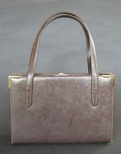 GUCCI ORIGINAL VINTAGE LEATHER HANDBAG MADE IN ITALY 1950-60'S WITH KNIGHT CHARM