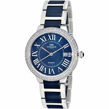 Ladies Oniss Silver Tone Blue Ceramic Band MOP Dial Crystals Date Watch ON3331