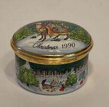Halcyon Days Christmas Xmas 1990 Neiman-Marcus Enamel Trinket Box Vintage
