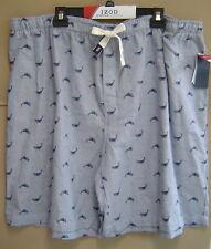 NWT $45 IZOD Mens 3XL COTTON SLUB WOVEN SLEEP SHORTS Whale Pajamas MEDIUM BLUE
