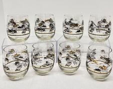 New Listing8 Mid Century Retro Construction Barware Glasses-Lowball Tumbler Gold Black