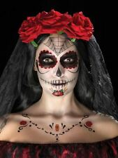 Day of the Dead Face Tattoo Transfers Kit Halloween Fancy Dress, RED & BLACK