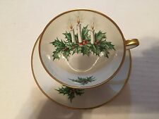 Hutschenreuther Tirschenreuth Germany Noel Teacup Saucer Christmas Holiday Set