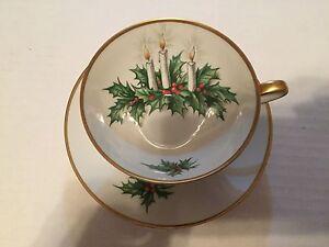 Hutschenreuther Tirschenreuth Germany Noel Tea Cup Saucer Christmas Holiday Set