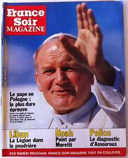 >France Soir Magazine du 11/6/1983; Le pape en Pologne/ Bowie/ Noah par Moretti