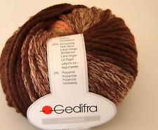 (90 €uro/kg): 800 g Gedifra CHANDRA, Fb. 7609 braun/beige/lachs-Verlauf #1775