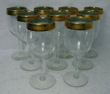 """UNKNOWN crystal UNK6517 Gold Filigree Band AQUA BAND Set of 9 Water Goblets - 7"""""""