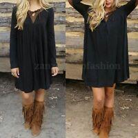 NEW Womens Vintage Bohemian Solid Long Top Blouse T Shirt Loose Mini Short Dress