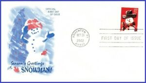 USA3 #3676 U/A ARTCRAFT FDC   Snowman Red Plaid Scarf s/a