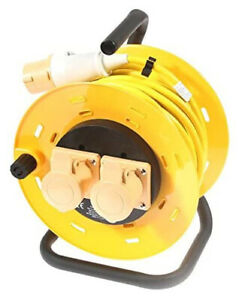 SMJ 110v Extension Lead Cable Reel 25m 2 Socket Yellow 16A 1.5mm