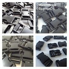 Black Delrin Plastic Side Release Fasteners Squeeze Buckle Clip 10mm - 50mm