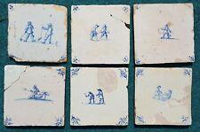 Antique set of 6 Dutch Delft Blue White Children Kids Playing Tiles 17/18thC.