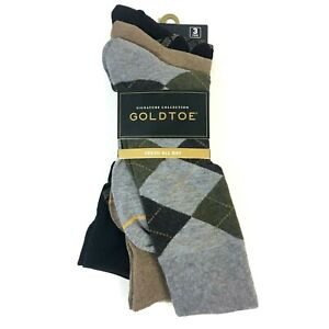 Goldtoe Signature Mens Dress Crew Socks 6-12.5 Embroidery Dot Multi 3 Pairs