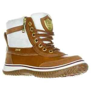 NEW!! Pajar Snowslide Georgia Cognac/Cream Waterproof Leather Nylon Snow Boots
