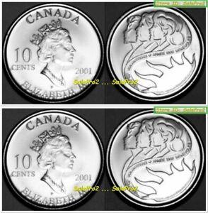 2x CANADA 2001 CANADIAN VOLUNTEER RARE DIME QUEEN ELIZABETH 10 CENT COIN LOT UNC