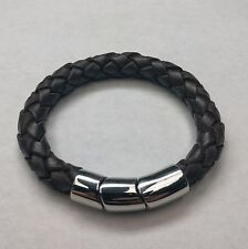Brown Braided Natural Leather and Stainless Steel Bracelet