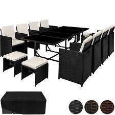 Ensemble Salon de jardin  poly rotin 8x chaise table tabouret résine tressée