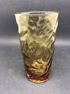 Vintage Amber Ripple Glass Tumbler 13.5 Cm (Or337)