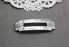 "Sterling Silver Hair Barrette Hand Made 2"" x 5/8"" Floral Flower Rectangle Cutout"