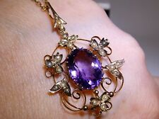 ANTIQUE ART NOUVEAU  9CT YELLOW  GOLD LARGE OVAL AMETHYST & SEED PEARL PENDANT