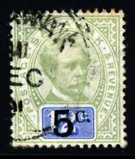 SARAWAK 1891 5c. Surcharge on 12c. Green & Blue VARIETY WITH STOP SG 25 VFU
