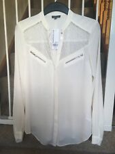 womans cream warehouse blouse with lace and zip detail, new with tags, size 10