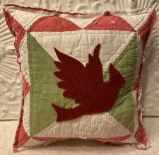 NEW Handmade Christmas Cardinal Bird Pillow Vintage Quilt Chenille Bedspread